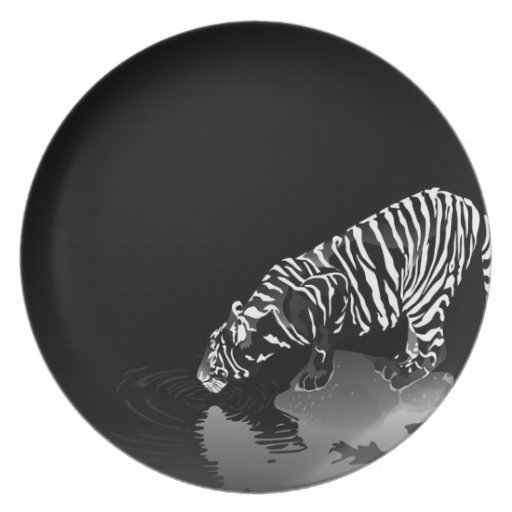 Abstract Animal Stripped Tiger Dinner Plate