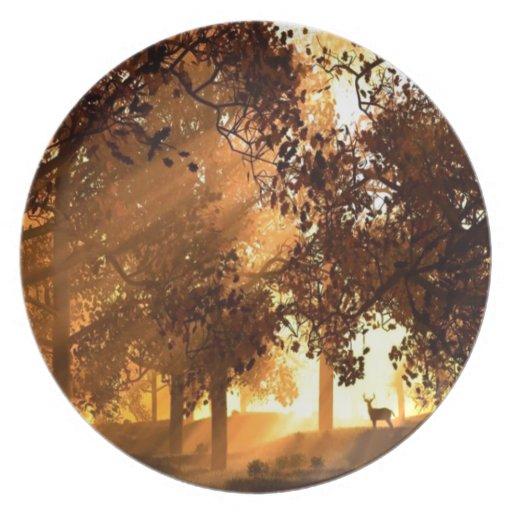 Abstract Animal Sun Wood Dinner Plate