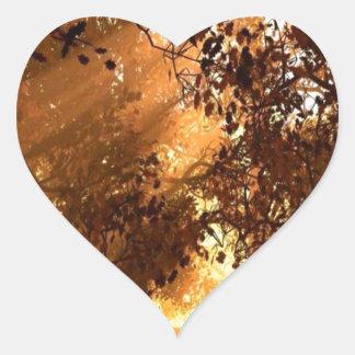 Abstract Animal Sun Wood Heart Sticker