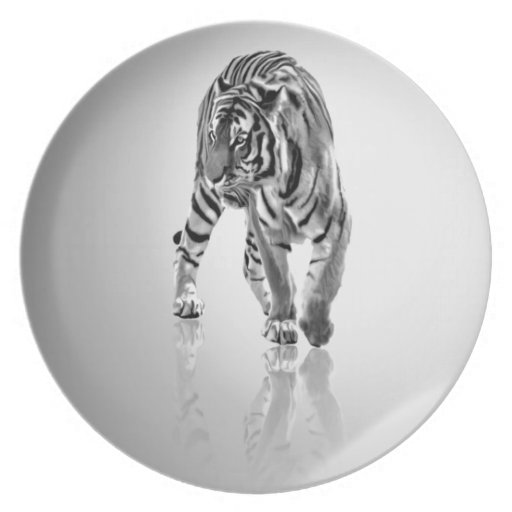 Abstract Animal Tiger Mirror Dinner Plate