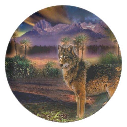 Abstract Animal Wolf Scene Dinner Plates
