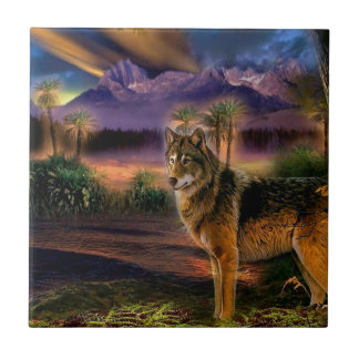 Abstract Animal Wolf Scene Small Square Tile