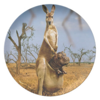 Abstract Animals Kangaroo Baby Shock Dinner Plate