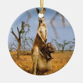 Abstract Animals Kangaroo Baby Shock Christmas Tree Ornaments