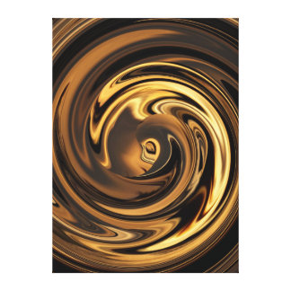 Abstract Anime Gold N Brown Wrapped Canvas Print