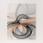 Abstract Anthracite Gray Sienna Modern Fractal Art Jigsaw Puzzle