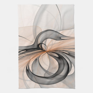 Abstract Anthracite Gray Sienna Shapes Fractal Art Hand Towel