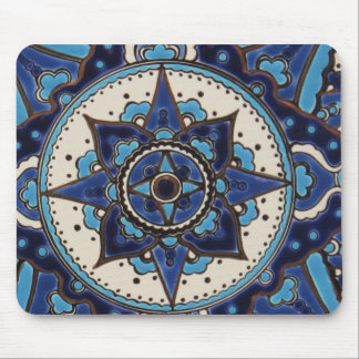 Abstract antique Arab blue and white tile design Mouse Pad