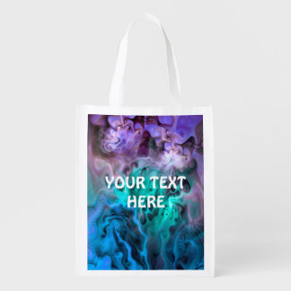 Abstract Apophysis Fractal I + your text Grocery Bag