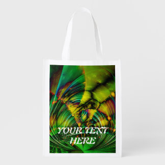 Abstract Apophysis Fractal II + your text Reusable Grocery Bag