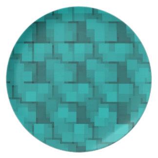 Abstract Aqua Blue Mosaic Melamine Plates