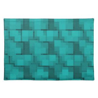 Abstract Aqua Blue Mosaic Placemats
