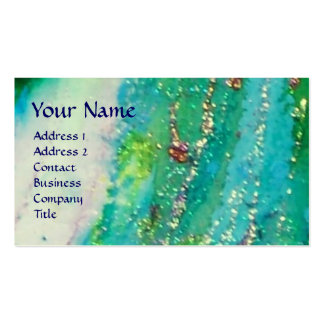 ABSTRACT AQUA BLUE TEAL GOLD SPARKLES RED WAX SEAL BUSINESS CARD