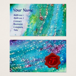 ABSTRACT AQUA BLUE TEAL GOLD SPARKLES,RED WAX SEAL BUSINESS CARD