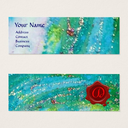ABSTRACT AQUA BLUE TEAL GOLD SPARKLES,RED WAX SEAL MINI BUSINESS CARD