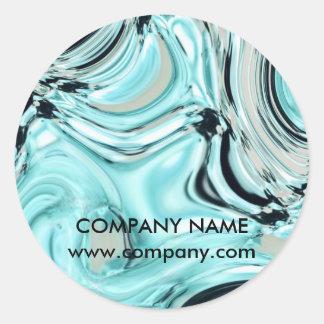 abstract aqua blue watercolor salon SPA Classic Round Sticker
