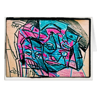 abstract aqua face card