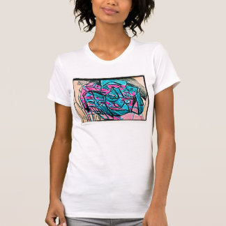abstract aqua face shirt