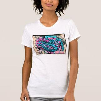 abstract aqua face t-shirts