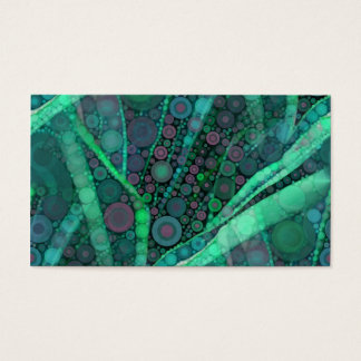 Abstract Aqua Green Purple Retro Circle Mosaic Business Card