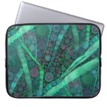 Abstract Aqua Green Purple Retro Circle Mosaic Laptop Computer Sleeve