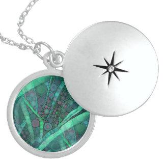 Abstract Aqua Green Purple Retro Circle Mosaic Personalized Necklace