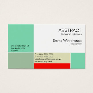 Abstract Aqua & Red Business Card