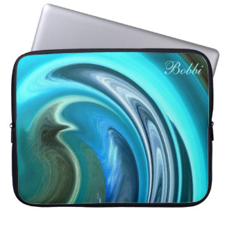 Abstract Aqua Seahorse Laptop Sleeve *Personalize*