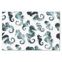 Abstract aqua seahorses pattern tissue paper