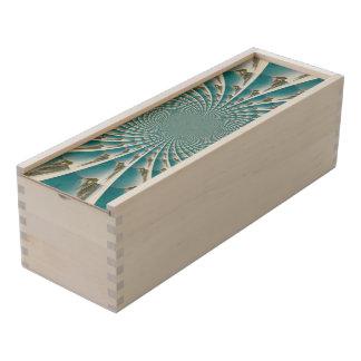 Abstract aqua wooden keepsake box