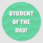 [ Thumbnail: Abstract Aquamarine Wavy and Lines Pattern Round Sticker ]