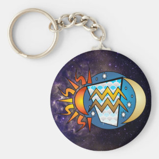 Abstract Aquarius Keychain