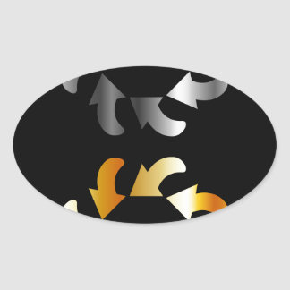 Abstract arrows design element oval sticker