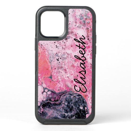 Abstract Art Acrylic Paint Pour Pink Black OtterBox Symmetry iPhone 12 Case