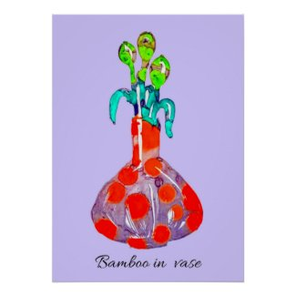 Abstract Art Bamboo Plant in a Vase  Poster