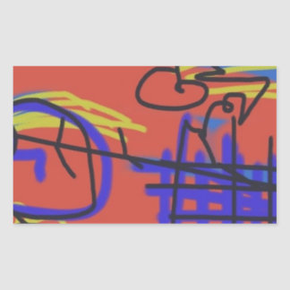 Abstract Art | Barbed Wire Rectangular Sticker