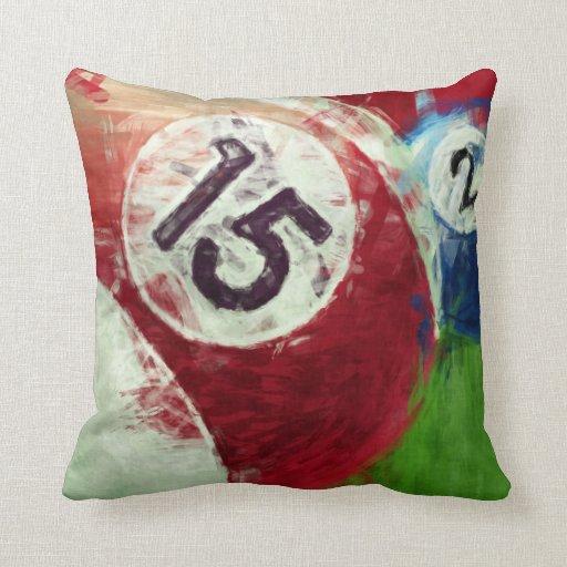 Abstract Art Billiards 15 2 Throw Pillows