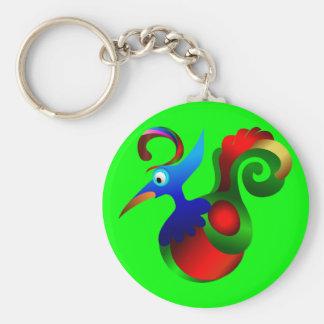 Abstract Art Bird of Paradise. Beautiful Basic Round Button Keychain