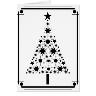 Professional Business Abstract Art Black and White Christmas Tree Card