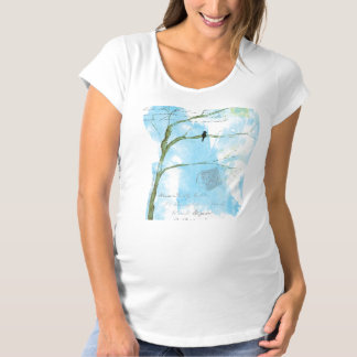 Abstract Art Black Bird In Tree Letters From Home Maternity T-Shirt