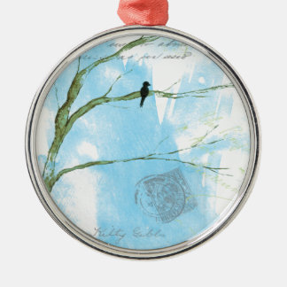 Abstract Art Black Bird In Tree Letters From Home Metal Ornament