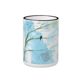 Abstract Art Black Bird In Tree Letters From Home Mug