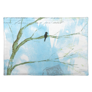 Abstract Art Black Bird In Tree Letters From Home Place Mats