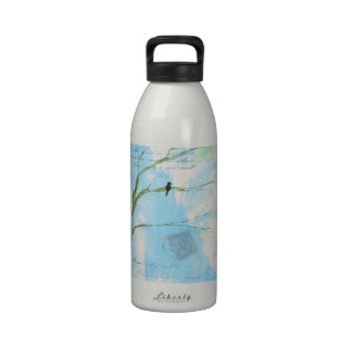 Abstract Art Black Bird In Tree Letters From Home Water Bottles