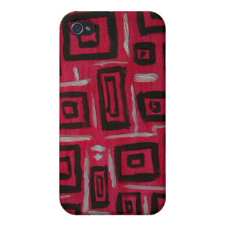 Abstract Art Black Rectangles Handpainted on Red iPhone 4/4S Case