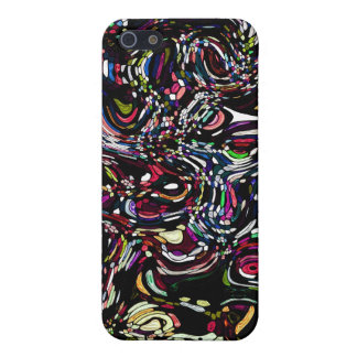 Abstract Art Black Swirl Red Case For iPhone SE/5/5s