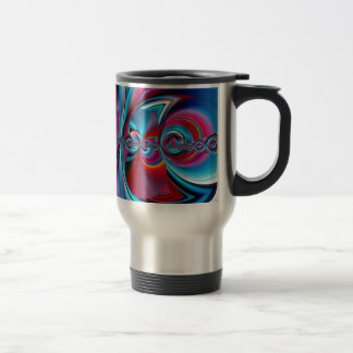 abstract art blue and red created by Tutti Travel Mug