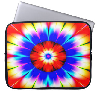 Abstract Art Blue Red And White Flower Computer Sleeve