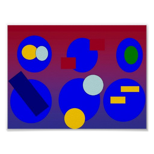 Abstract Art - Blue Red Dawn Poster
