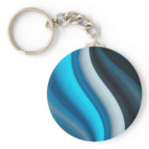 Abstract Art Blue Waves Keychain
